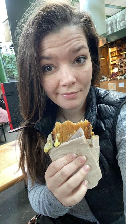 Tori eating food